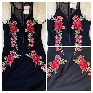 Rose Embroidery Fishnet Mini Dress